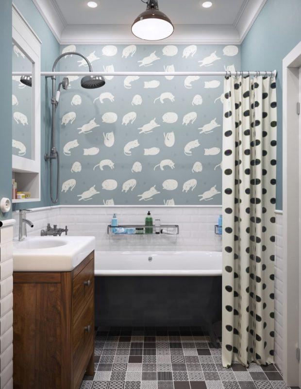 ห้องน้ำโทนสีฟ้าดำ