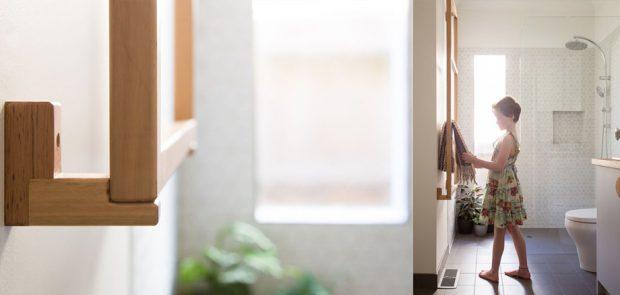 ห้องน้ำเล็ก ๆ โปร่งและสว่าง