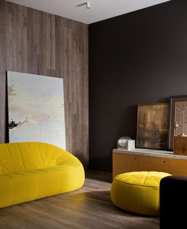 ห้องนั่งเล่นโทนสีดำเหลือง