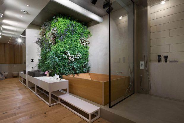 สวนแนวตั้งในห้องน้ำ