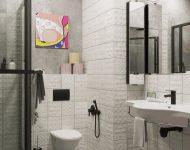 ห้องน้ำปูนเปลือยตกแต่งกระเบื้องสีขาว