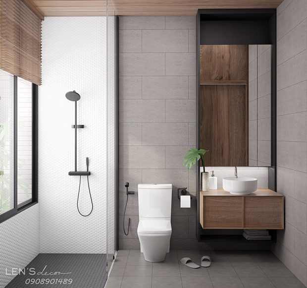 ห้องน้ำ Modern ตกแต่งไม้