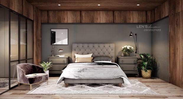 ห้องนอนโทนสีเทาตกแต่งไม้