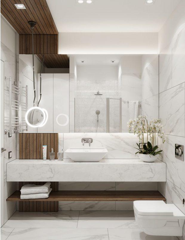 ห้องน้ำตกแต่งไม้และหินอ่อน