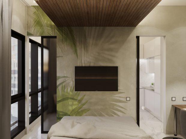 แต่งห้องนอนโทนสีเขียว-ขาว