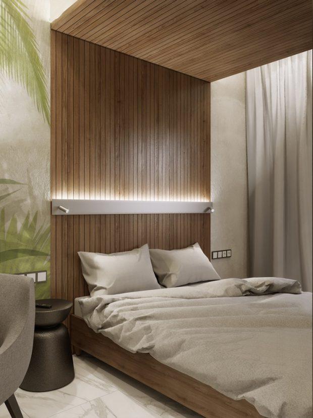 ตกแต่งหัวเตียงและเพดานเป็นซุ้มไม้