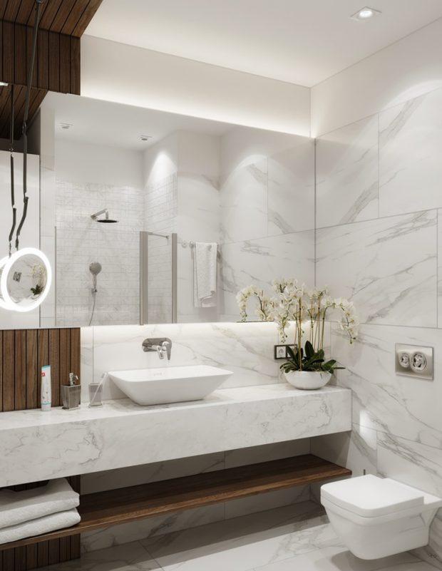 แต่งห้องน้ำด้วยไม้ระแนงและหินอ่อน