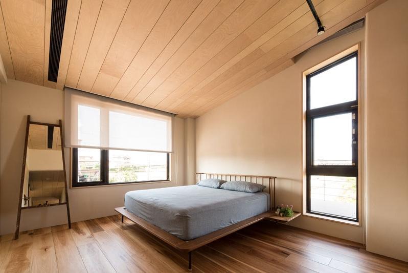 ห้องนอนตกแต่งไม้สีอ่อน