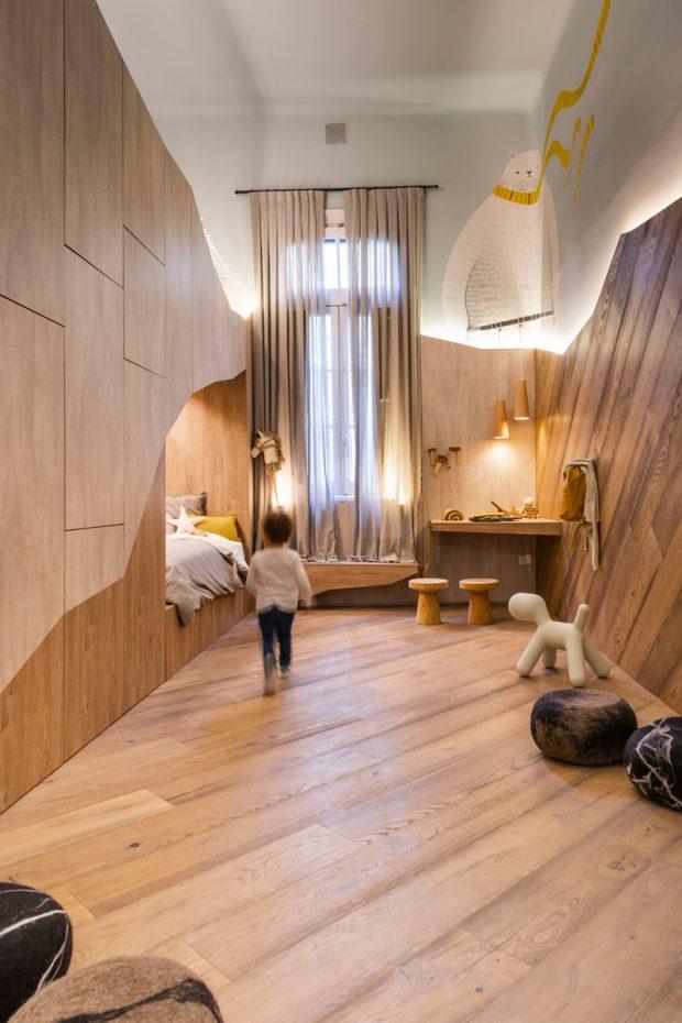 ห้องเด็กตกแต่งไม้แบบโมเดิร์น