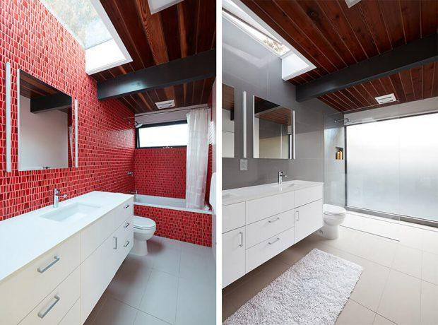 กระเบื้องห้องน้ำสีแดง