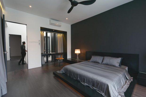 ห้องนอนใหญ่โทนสีเทาดำ
