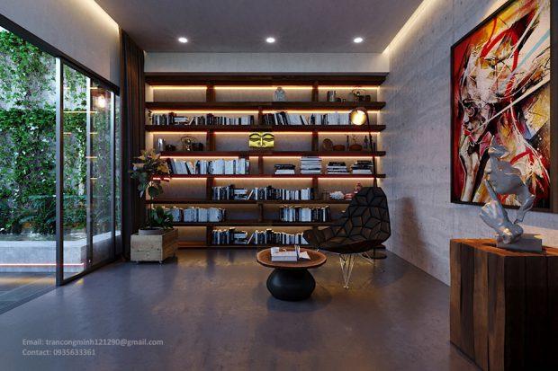 จัดแสงไฟบนฝ้าเพดานและชั้นวาง