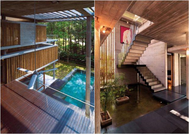 สระว่ายน้ำและสวนน้ำในบ้าน