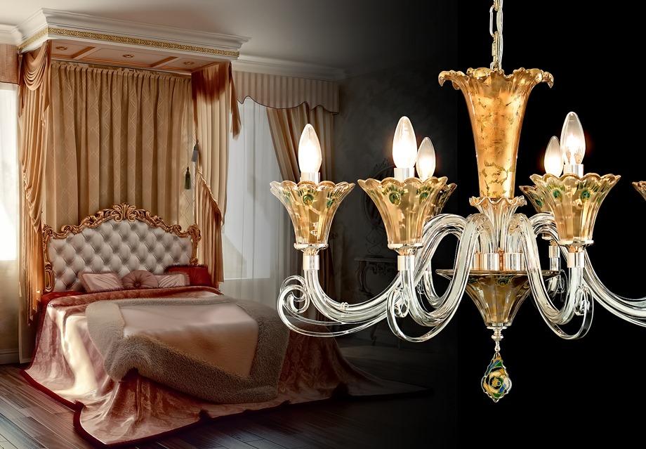 โคมไฟระย้าในห้องนอน