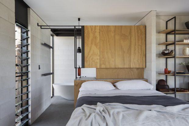 ห้องนอนตกแต่งเรียบง่าย