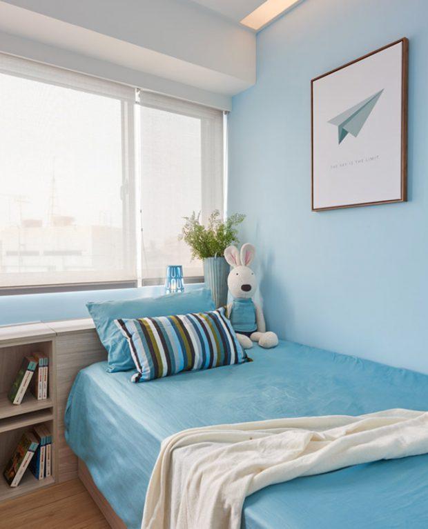 ห้องนอนเล็กโทนสีฟ้า