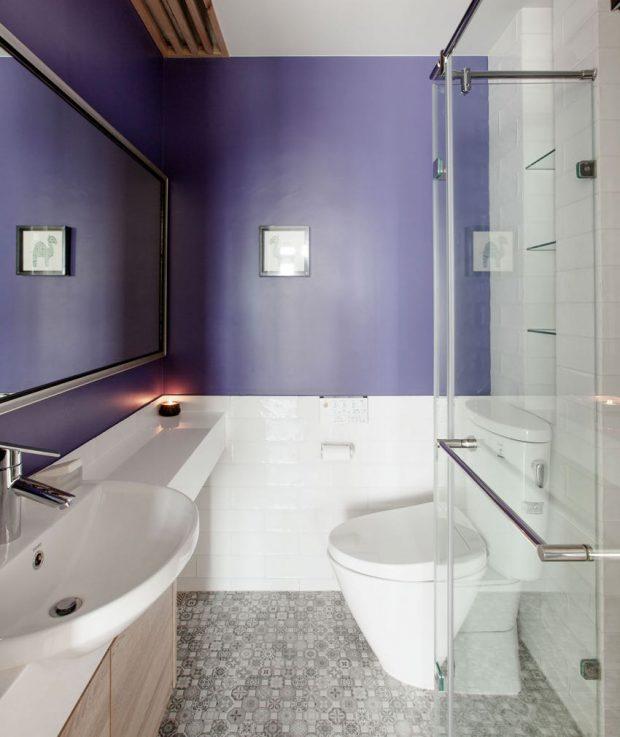 ห้องน้ำโทนสีขาว-ม่วง