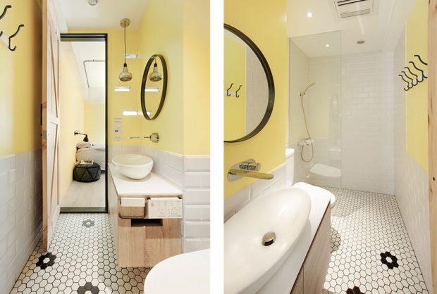 ห้องน้ำโทนสีขาว-เหลือง