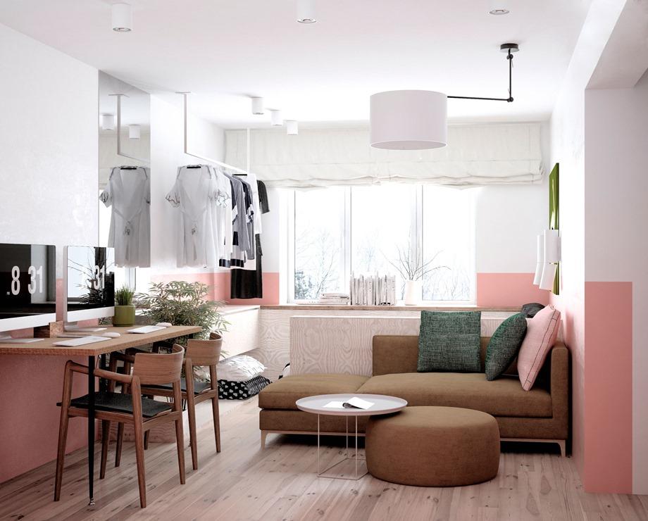 ห้องนั่งเล่นโทนสีพาสเทล
