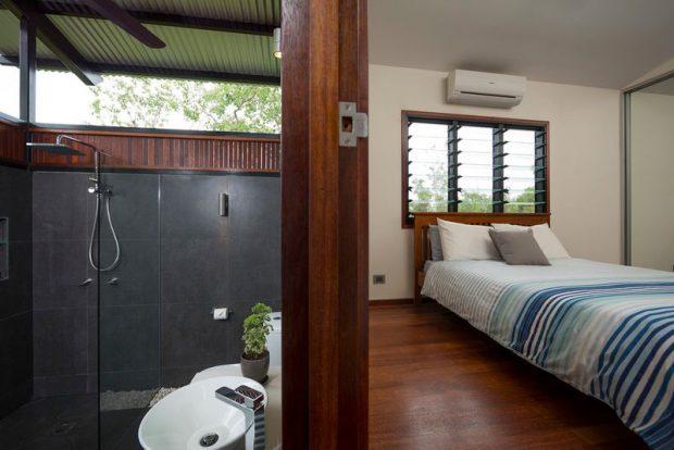 ห้องนอนติดกับห้องน้ำ open air