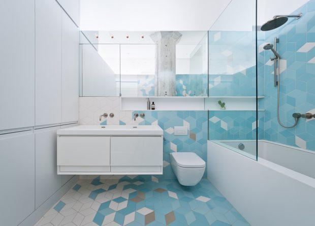 ห้องน้ำโทนสีขาว-ฟ้า
