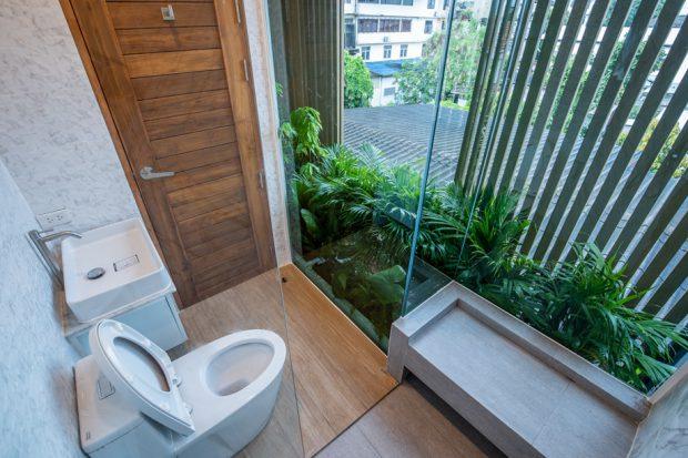 จัดสวนในห้องน้ำ
