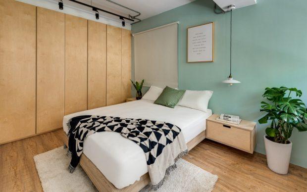 ตกแต่งห้องนอนสีเขียวหม่น