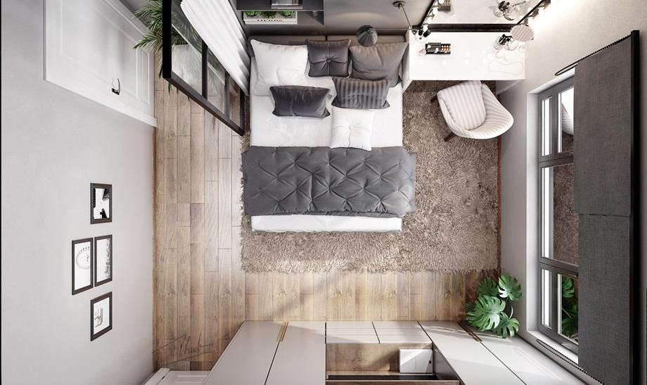 ห้องนอนเล็ก ๆ โทนสีเทาดำ