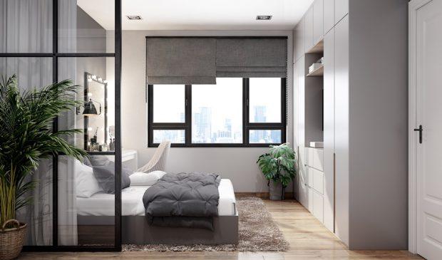 ห้องนอนโทนสีเทาดำ