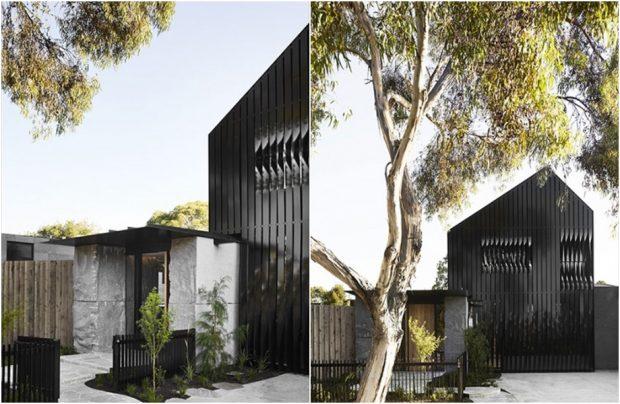 บ้านหน้าจั่วผนังเมทัลชีทสีดำ