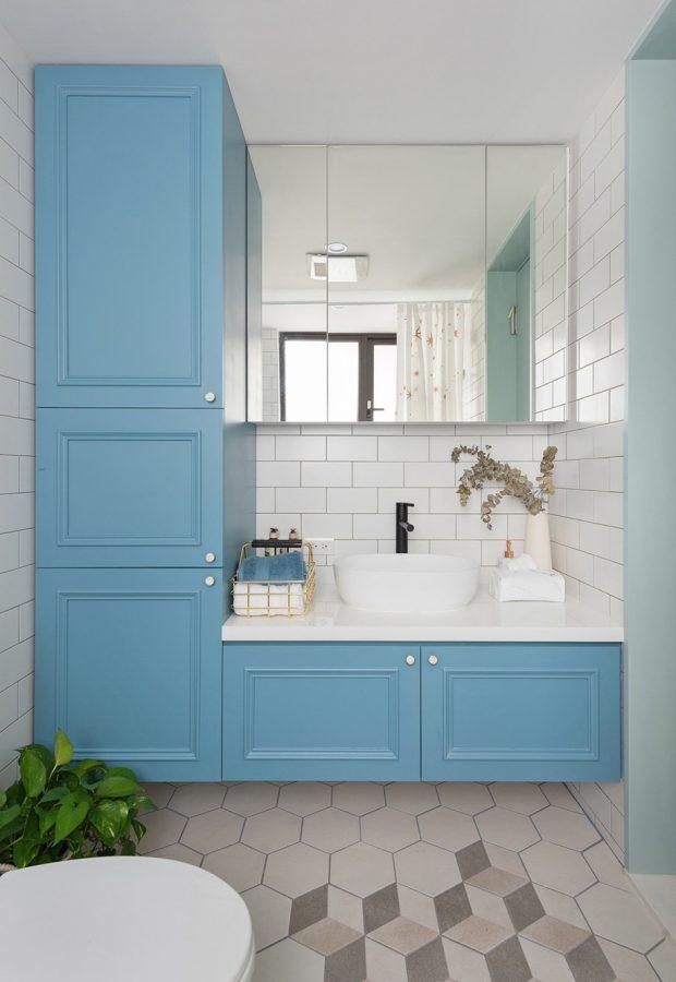 ห้องน้ำโทนสีฟ้า-ขาว