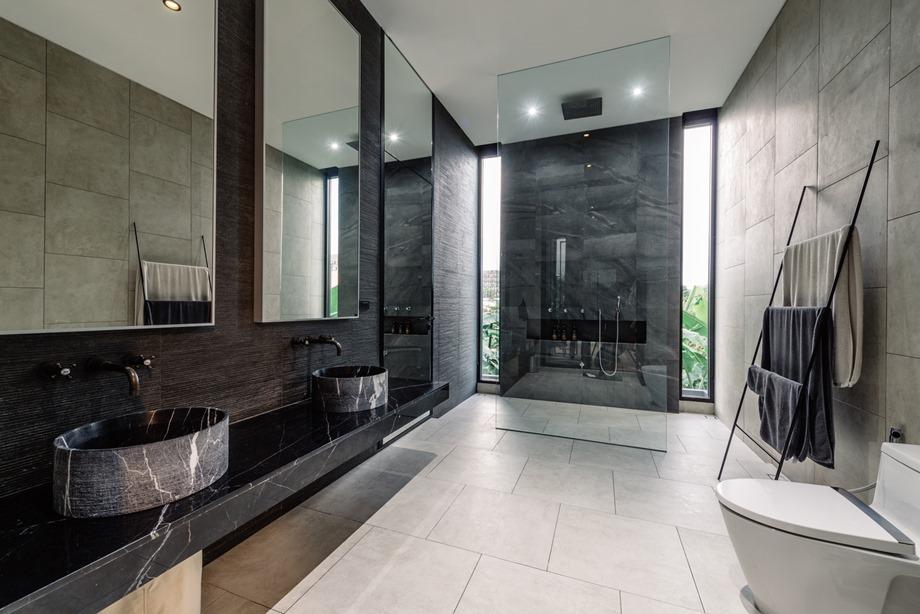 ห้องน้ำโมเดิร์นโทนสีทาดำ