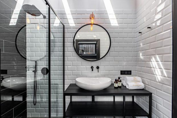 ห้องน้ำโทนสีขาวดำ