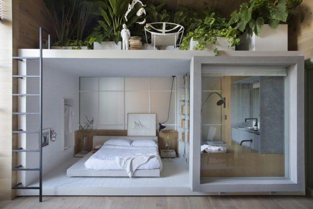 ห้องนอนกล่องเล็ก ๆ มีชั้นลอย