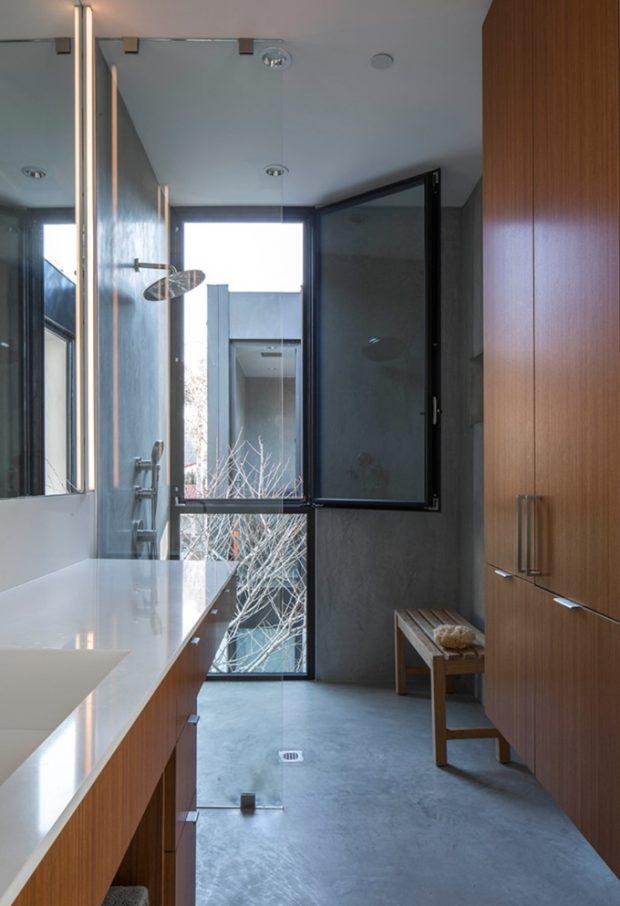 ห้องน้ำคอนกรีตผสมไม้