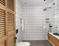 ห้องน้ำตกแต่งกระเบื้องสีขาวเล็ก ๆ