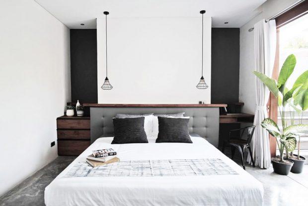 ห้องนอนโทนสีเทา-ขาว