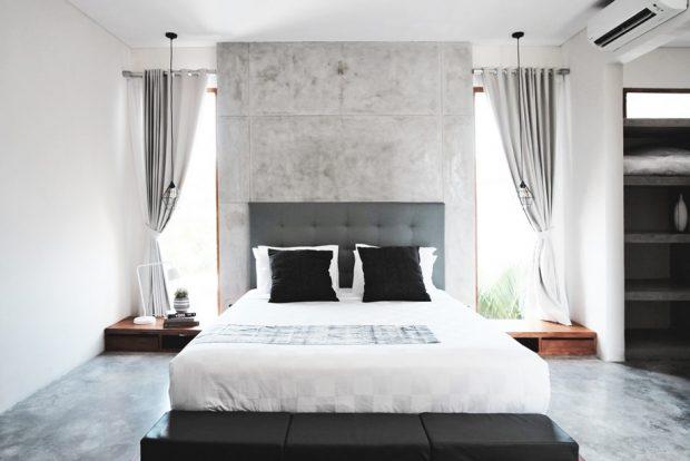 ห้องนอนผนังคอนกรีต