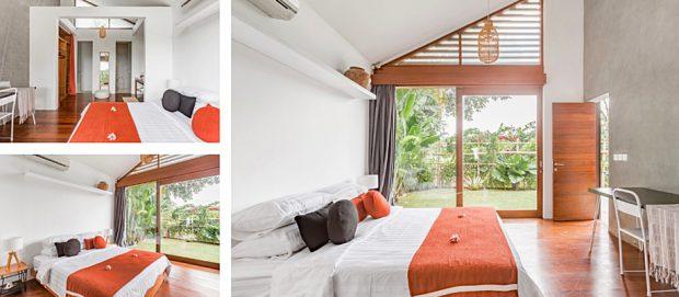 ห้องนอนเพดานสูงประตูกระจก