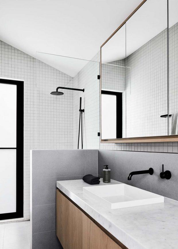 ห้องน้ำโทนสีขาว เทา ดำ