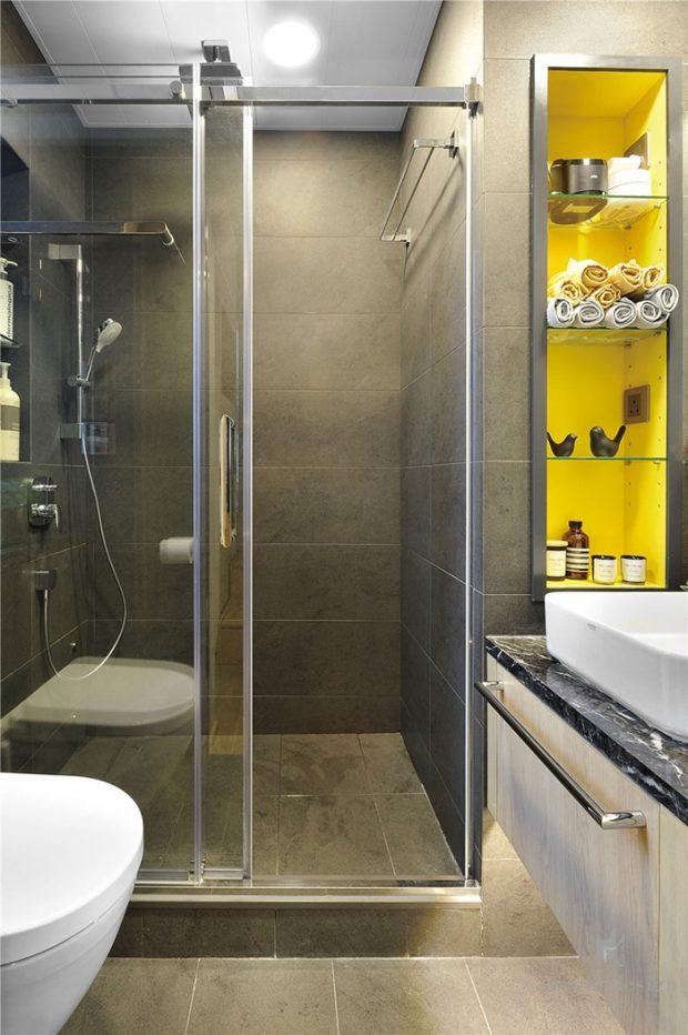 ห้องน้ำโทนสีเทาเหลือง