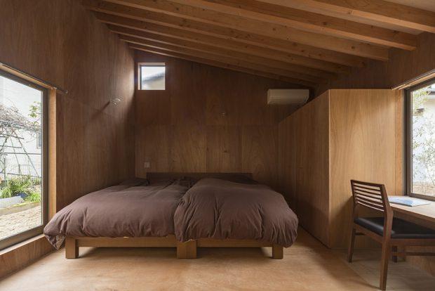 ห้องนอนตกแต่งไม้เรียบ ๆ
