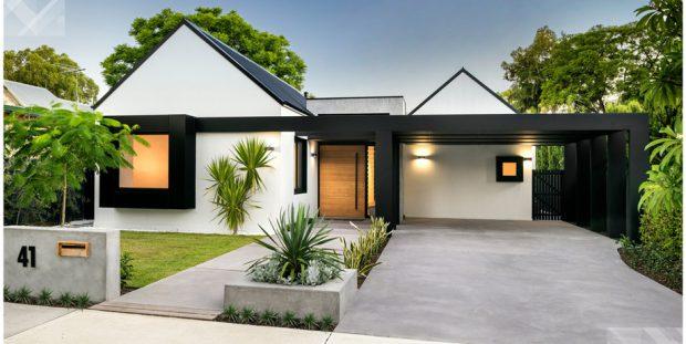 บ้านโมเดิร์นหลังคาจั่วสีขาวดำ