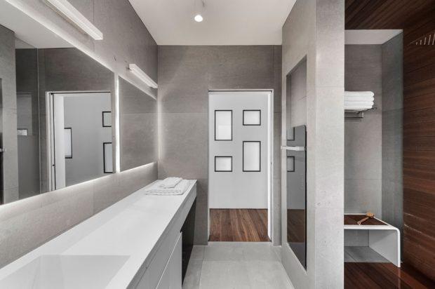 ตกแต่งห้องน้ำโทนสีเทา