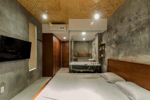 ห้องนอนคอนกรีตตกแต่งไม้