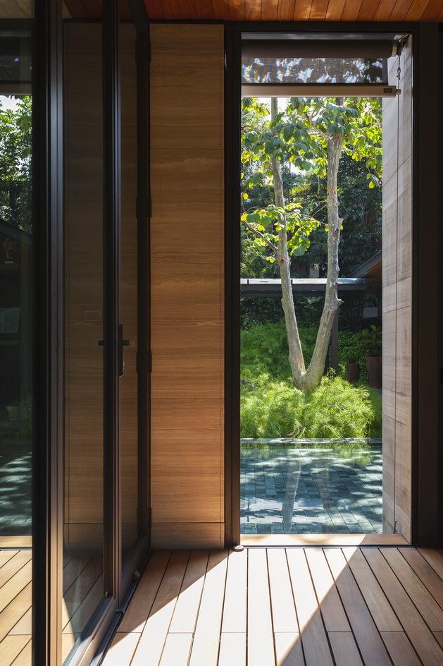 ผนังกระจกและไม้
