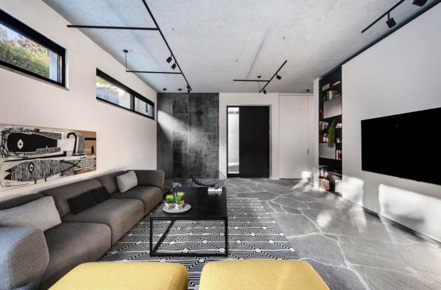 ห้องนั่งเล่นโทนสีเทาดำ