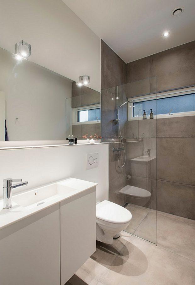 ห้องน้ำสีขาว-เทา