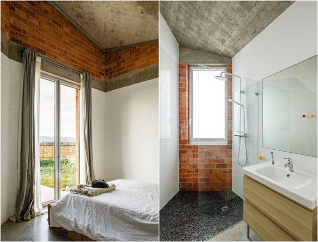 ห้องนอนและห้องน้ำโชว์อิฐและคอนกรีต