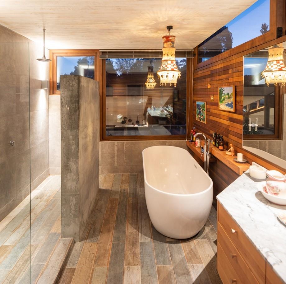 ห้องน้ำตกแต่งงานไม้ร่วมสมัย